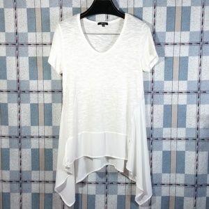 Asymmetrical Hi-low Short Sleeve Top Mixed Fabrics